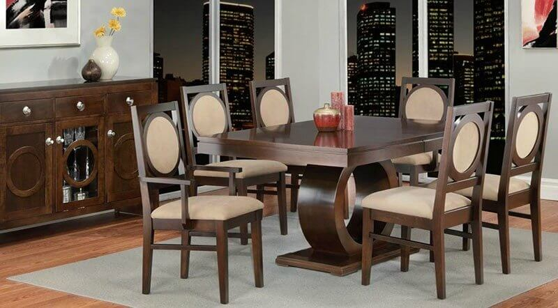 Beautiful wooden dining room set with beige seat covers