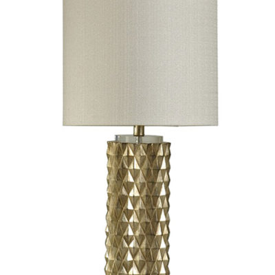 Lamp with gold base with triangular texture pattern6